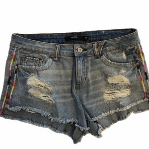 Harper jeans shorts with embroidery on sides